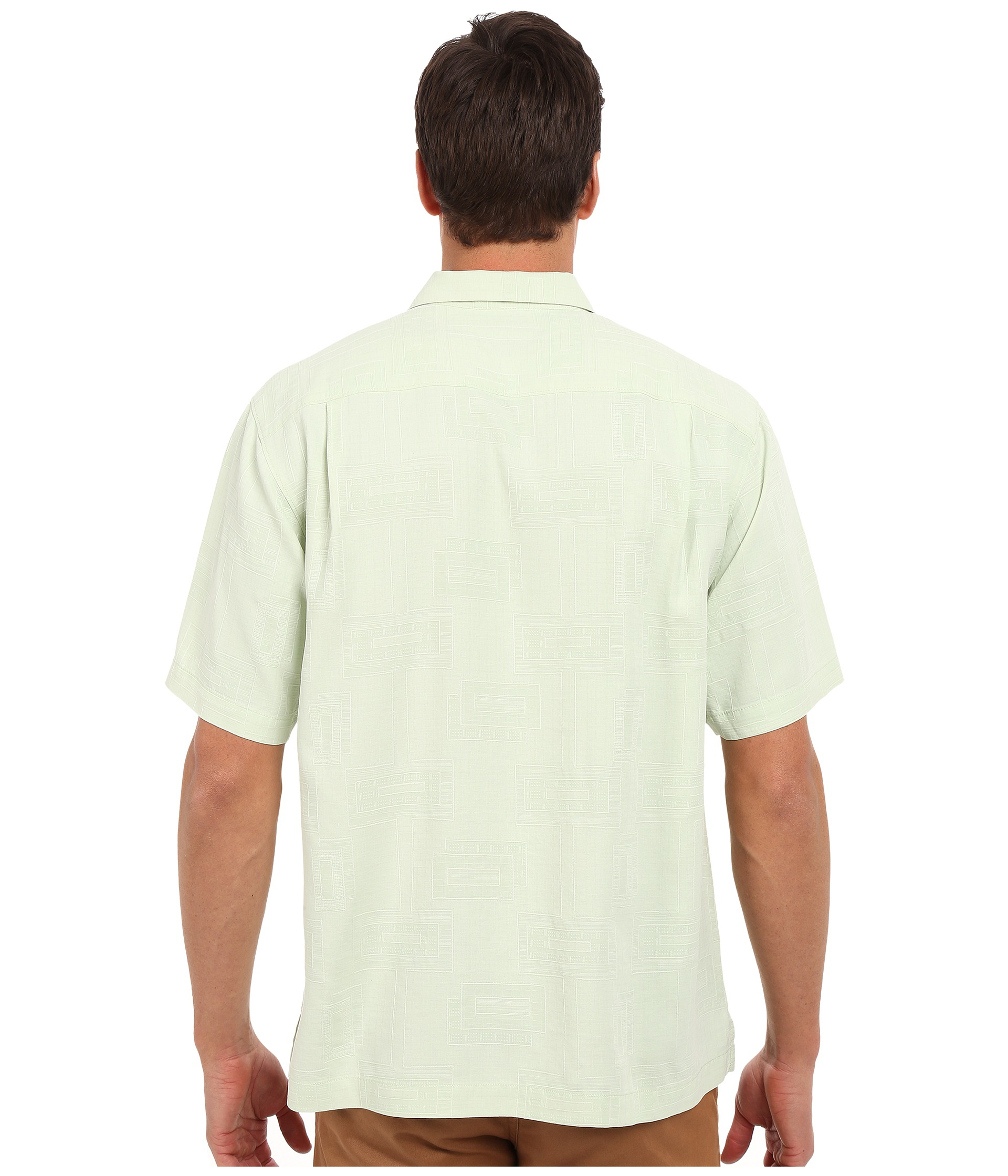 Tommy bahama surfwinds geo camp shirt in green for men for Where to buy tommy bahama shirts