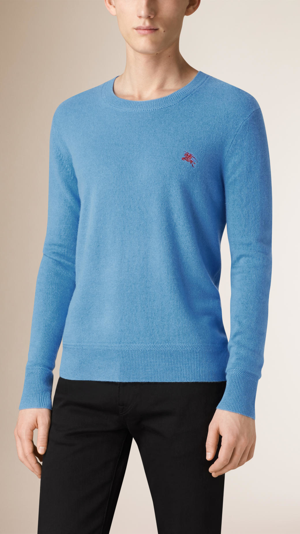 Burberry Crew Neck Cashmere Sweater in Blue for Men | Lyst