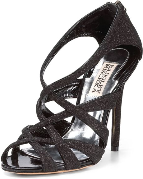 Badgley Mischka Glitter Sandal in Black