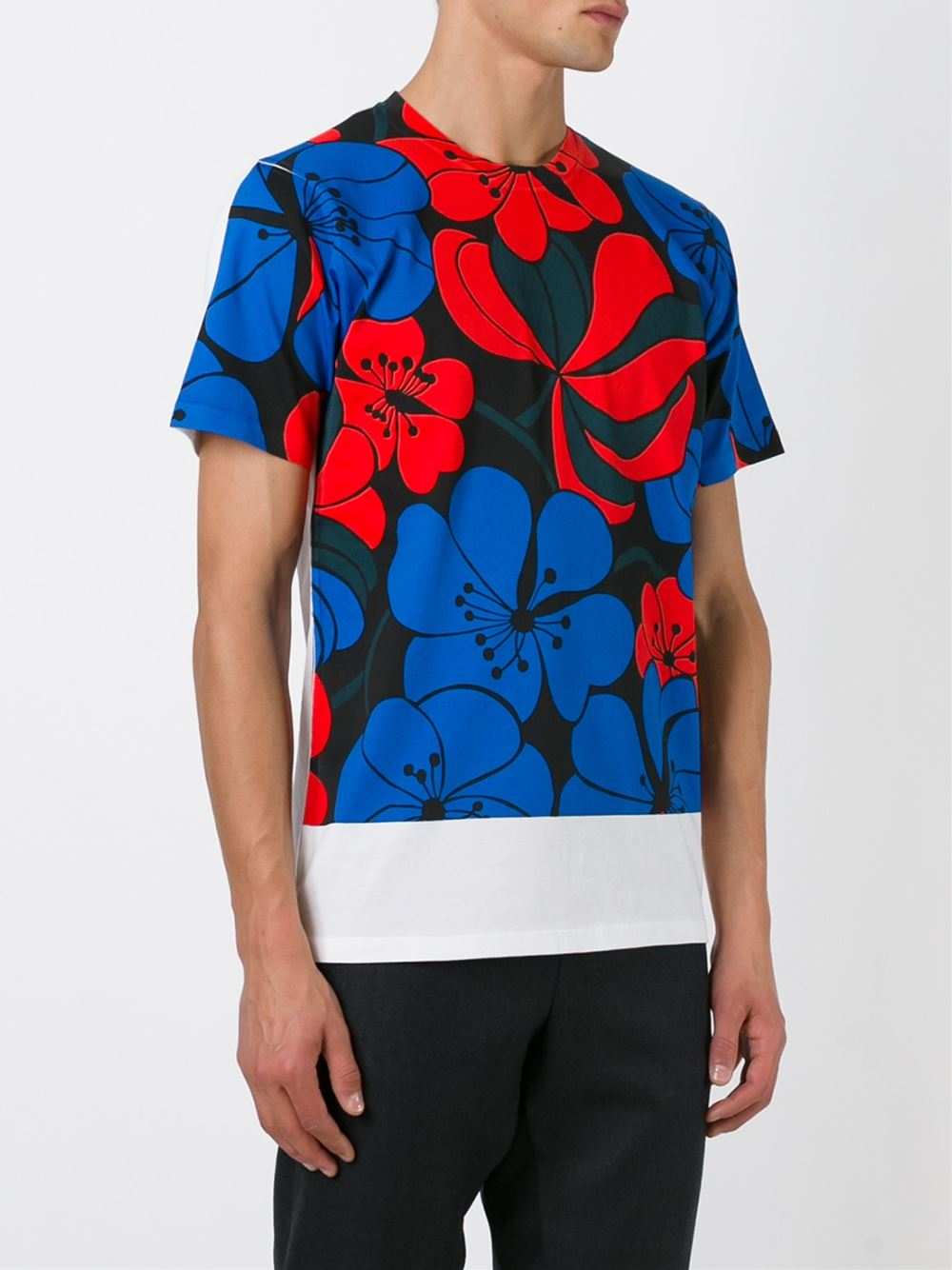 Marni floral print t shirt in blue for men white lyst for Vista print tee shirt