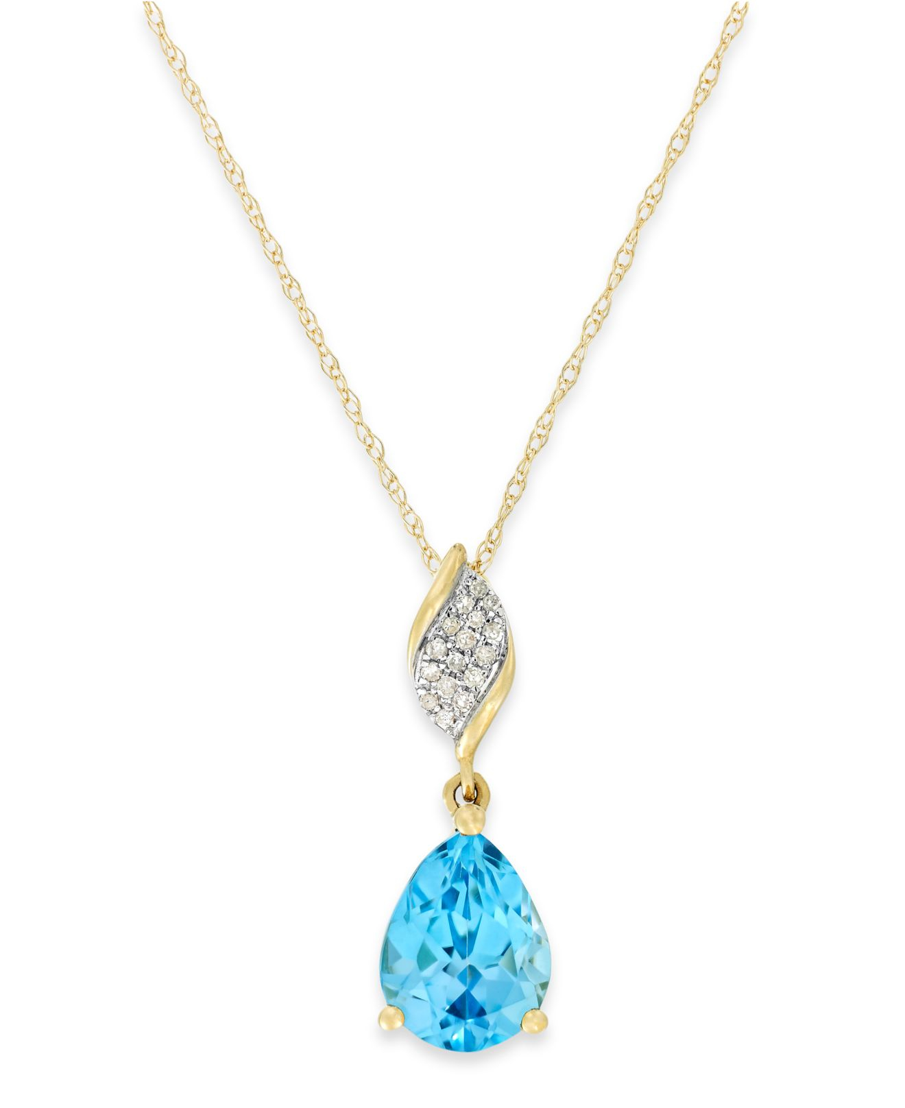 lyst macy 39 s 14k white gold necklace blue topaz 6 1 5. Black Bedroom Furniture Sets. Home Design Ideas