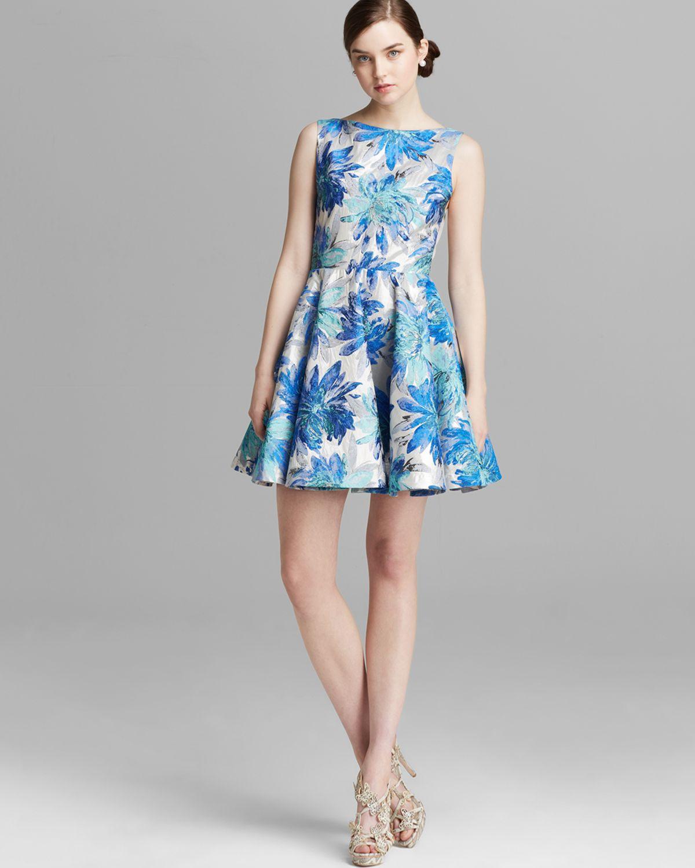 Alice Olivia Alice Olivia Dress Foss Floral Jacquard In Blue Lyst