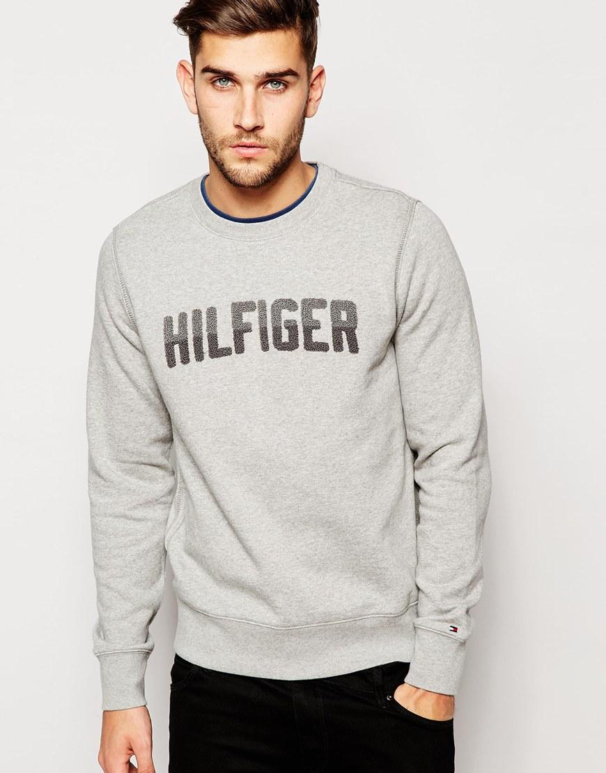 lyst tommy hilfiger sweatshirt with hilfiger logo in gray for men. Black Bedroom Furniture Sets. Home Design Ideas
