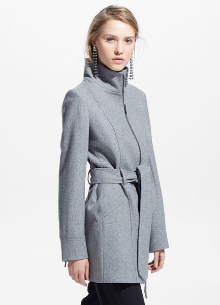 Sale Gray Belt Wool-Blend Coat By Mango Wholesale