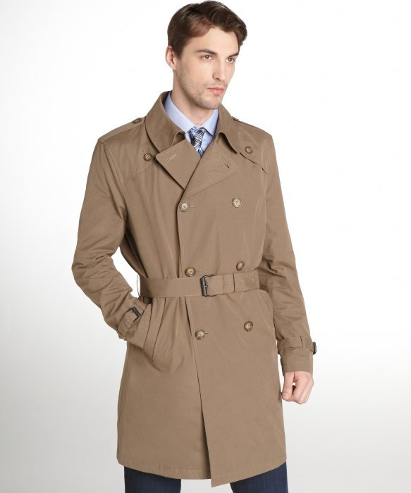 tommy hilfiger taupe double breasted belted trench coat in. Black Bedroom Furniture Sets. Home Design Ideas