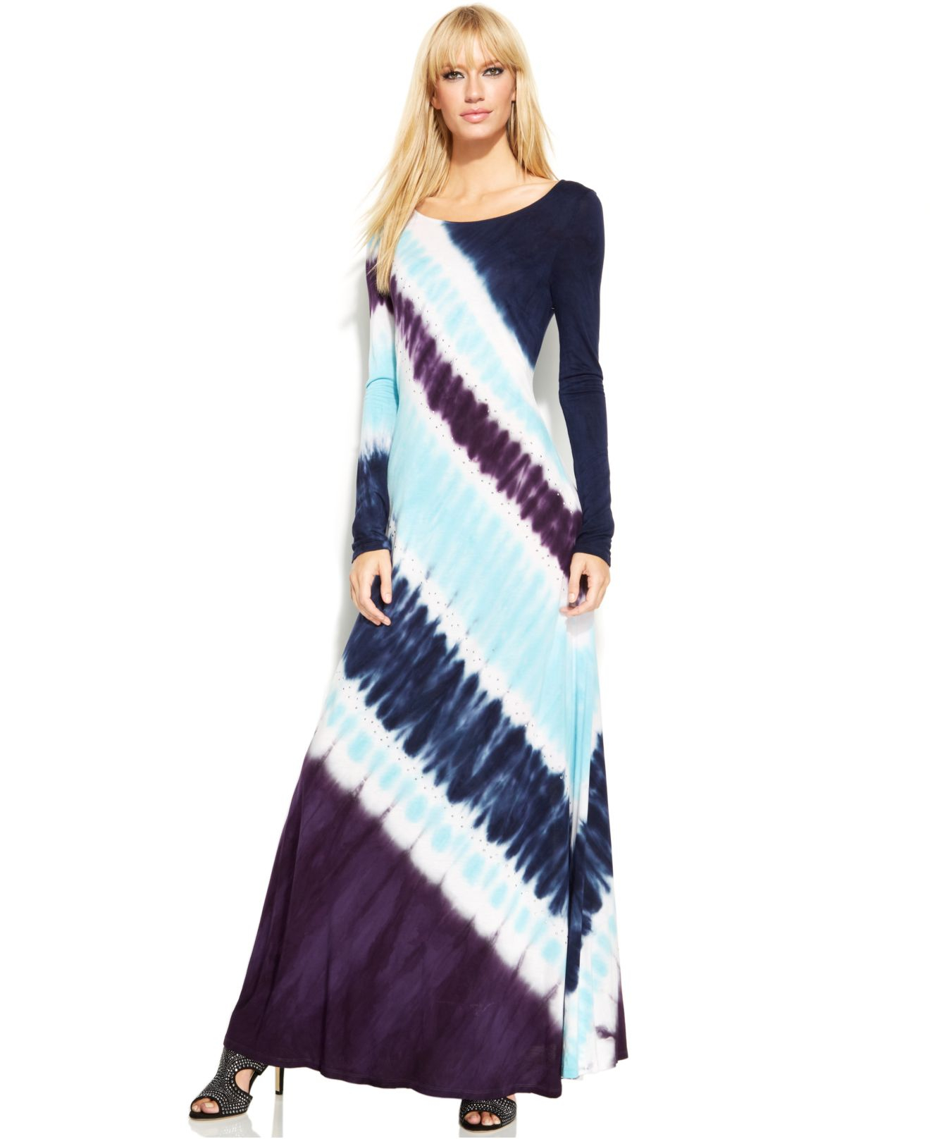 Lyst Inc International Concepts Long Sleeve Tie Dye Maxi Dress