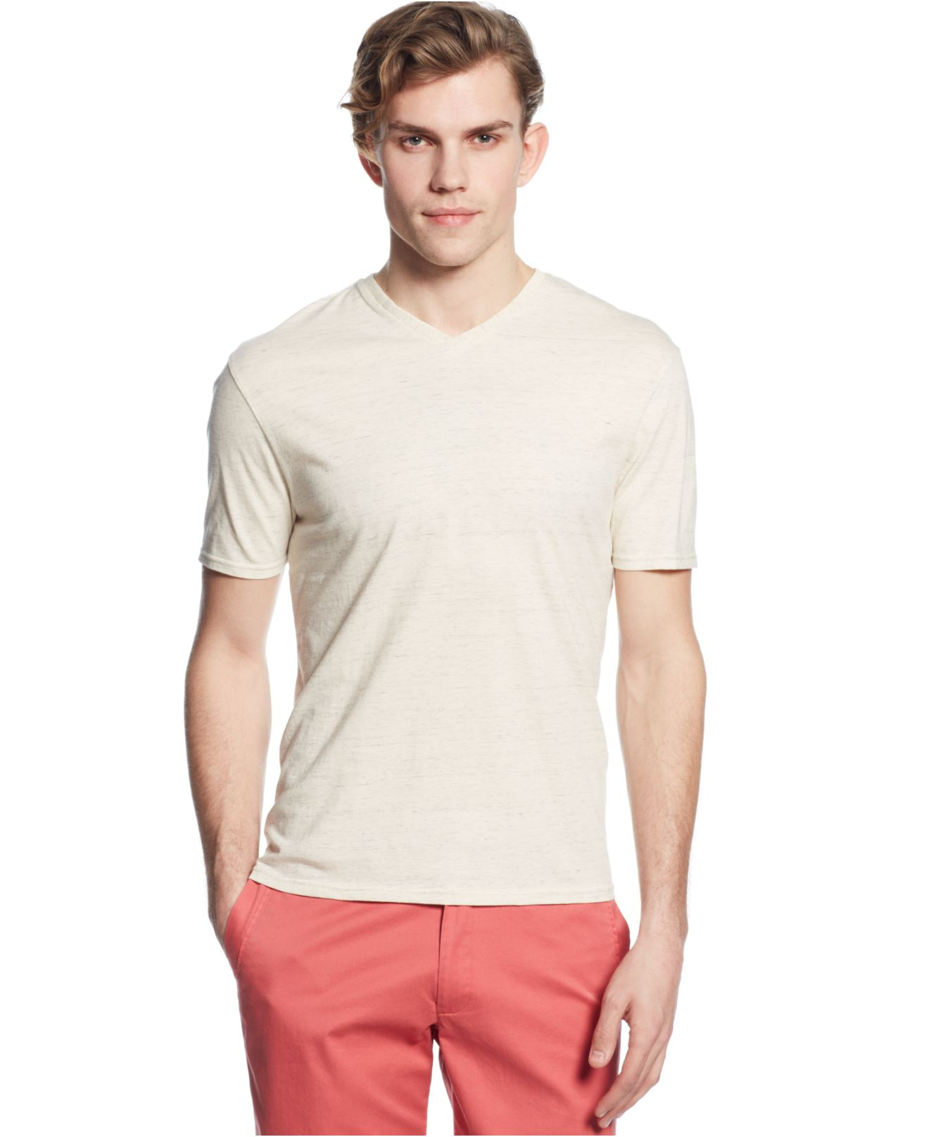 Hanes Premium Men's Slim Fit V-neck T-Shirts are available in a convenient pack of 4. With lightweight, ComfortBlend fabric, they deliver premium, all day comfort.