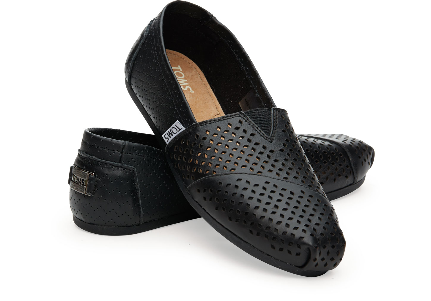cd79b2c02d5 TOMS Black Leather Perforated Women s Classics in Black - Lyst