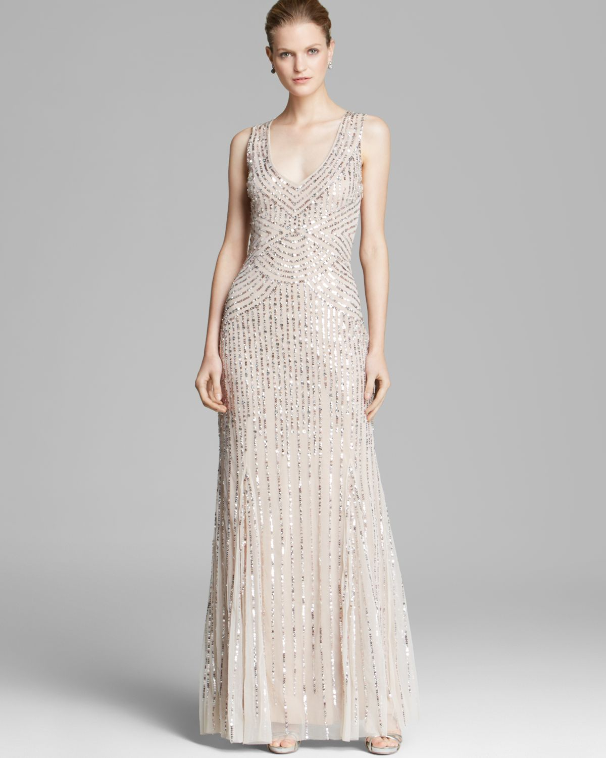 Lyst - Aidan Mattox Sleeveless V-Neck Beaded Gown with Illusion Back ...