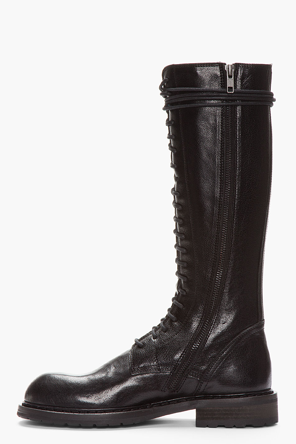 Lyst Ann Demeulemeester Tall Black Leather Lace Up Boots