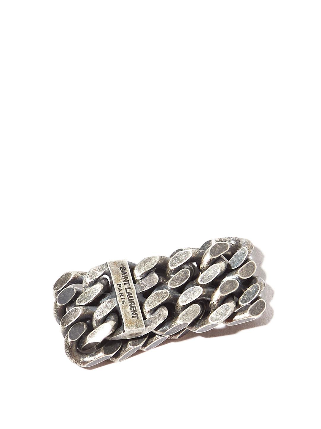 Saint Laurent Mens Silver Double Chain Ring In Metallic