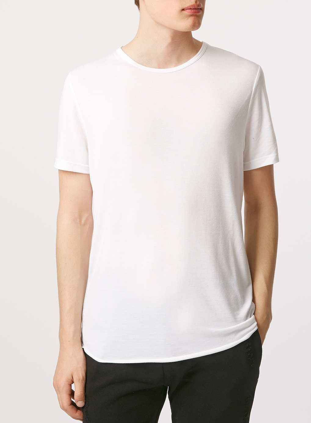 topman white drapey slim fit t shirt in white for men. Black Bedroom Furniture Sets. Home Design Ideas