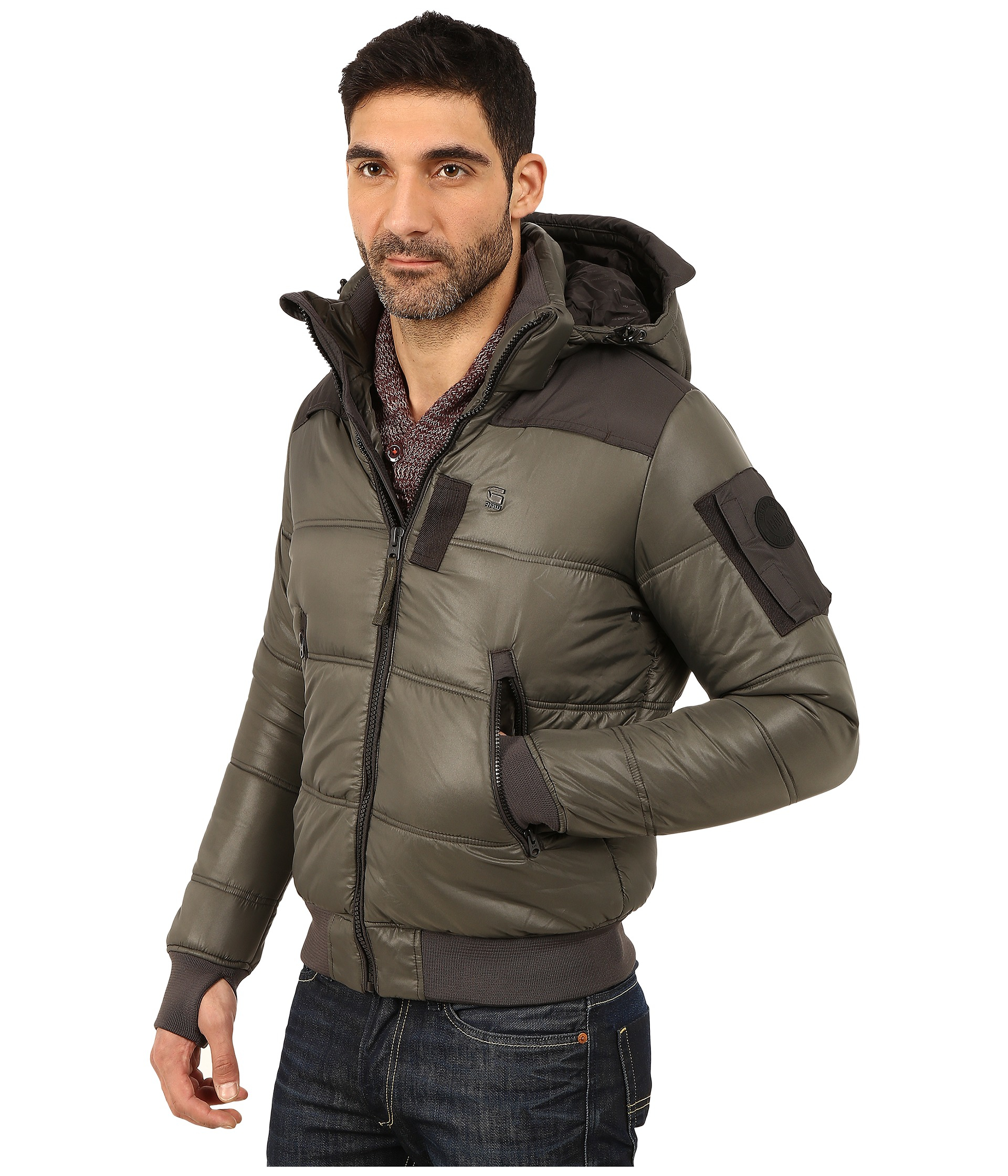 g star raw whistler hooded bomber jacket in gray for men lyst. Black Bedroom Furniture Sets. Home Design Ideas