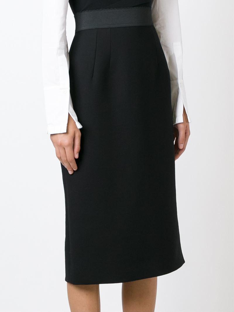 Dolce & gabbana Straight Midi Skirt in Black   Lyst