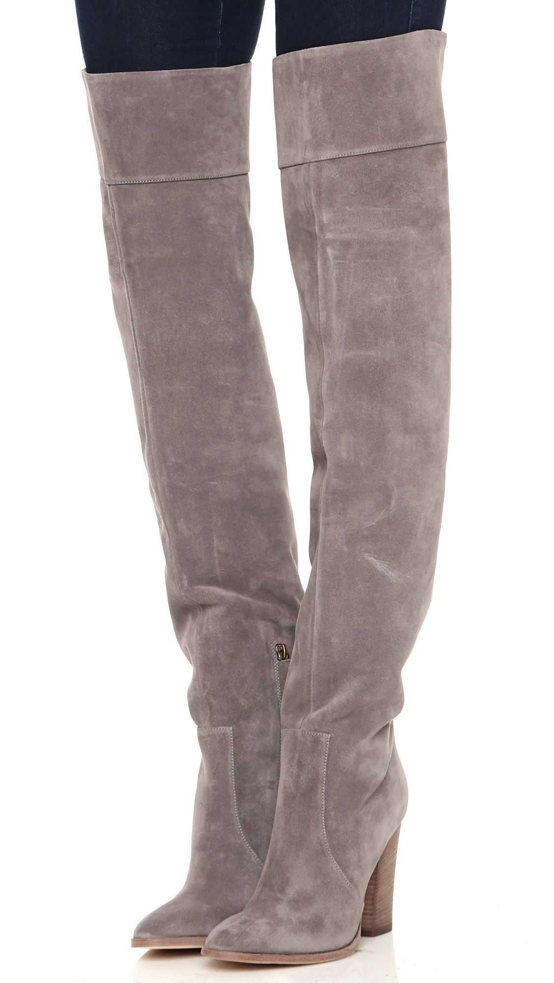 Club Monaco Lisa Over The Knee Suede Boots - Grey in Grey
