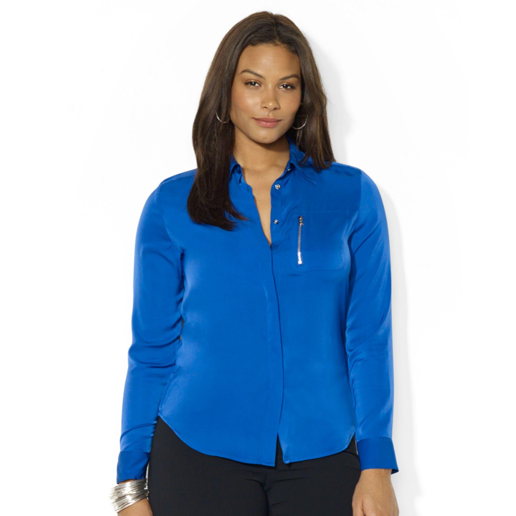 ralph lauren plus size women 39 s blouses silk blouses. Black Bedroom Furniture Sets. Home Design Ideas
