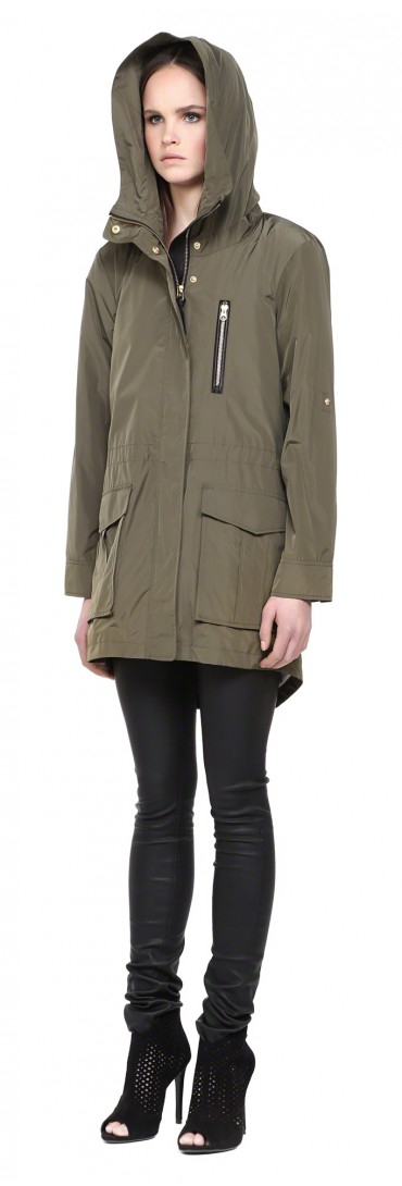 Mackage Gypsy-s5 Khaki Rain Hooded Parka With Leather Trim in ...
