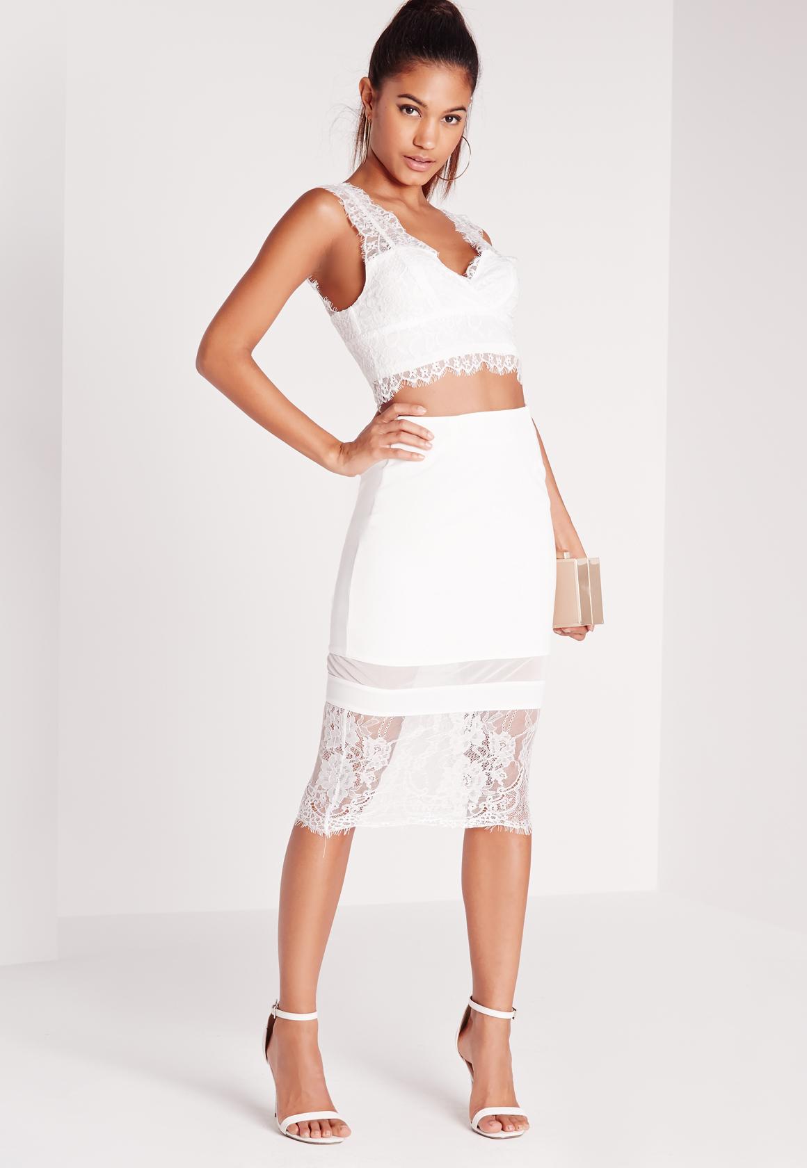 missguided lace hem midi skirt white in white lyst