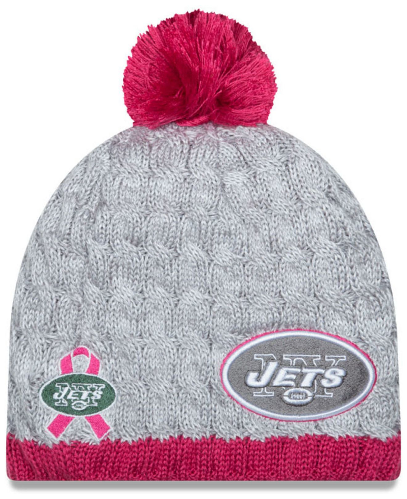 24abdde8 KTZ Gray Women's New York Jets Breast Cancer Awareness Knit Hat