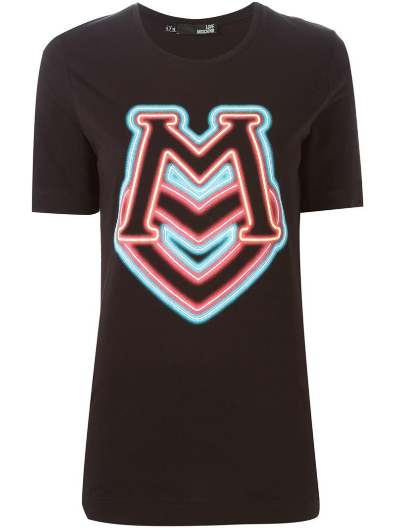 Lyst Love Moschino Neon Light Logo Print T Shirt In Black