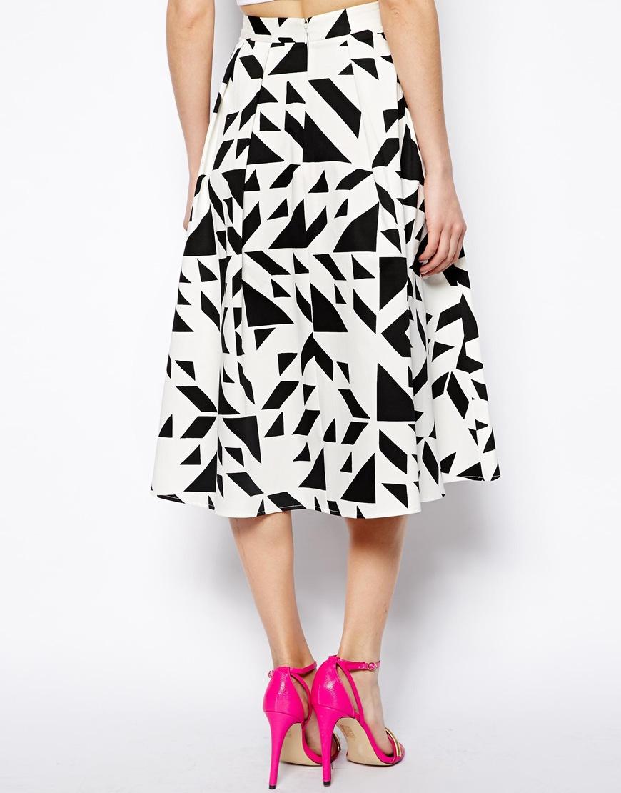 asos midi skirt in abstract print in black blackwhite lyst