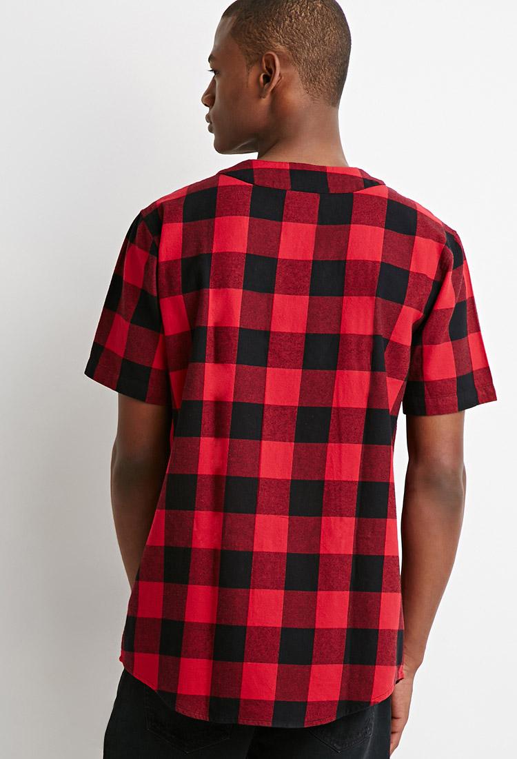 Forever 21 Buffalo Plaid Baseball Shirt In Red For Men Lyst