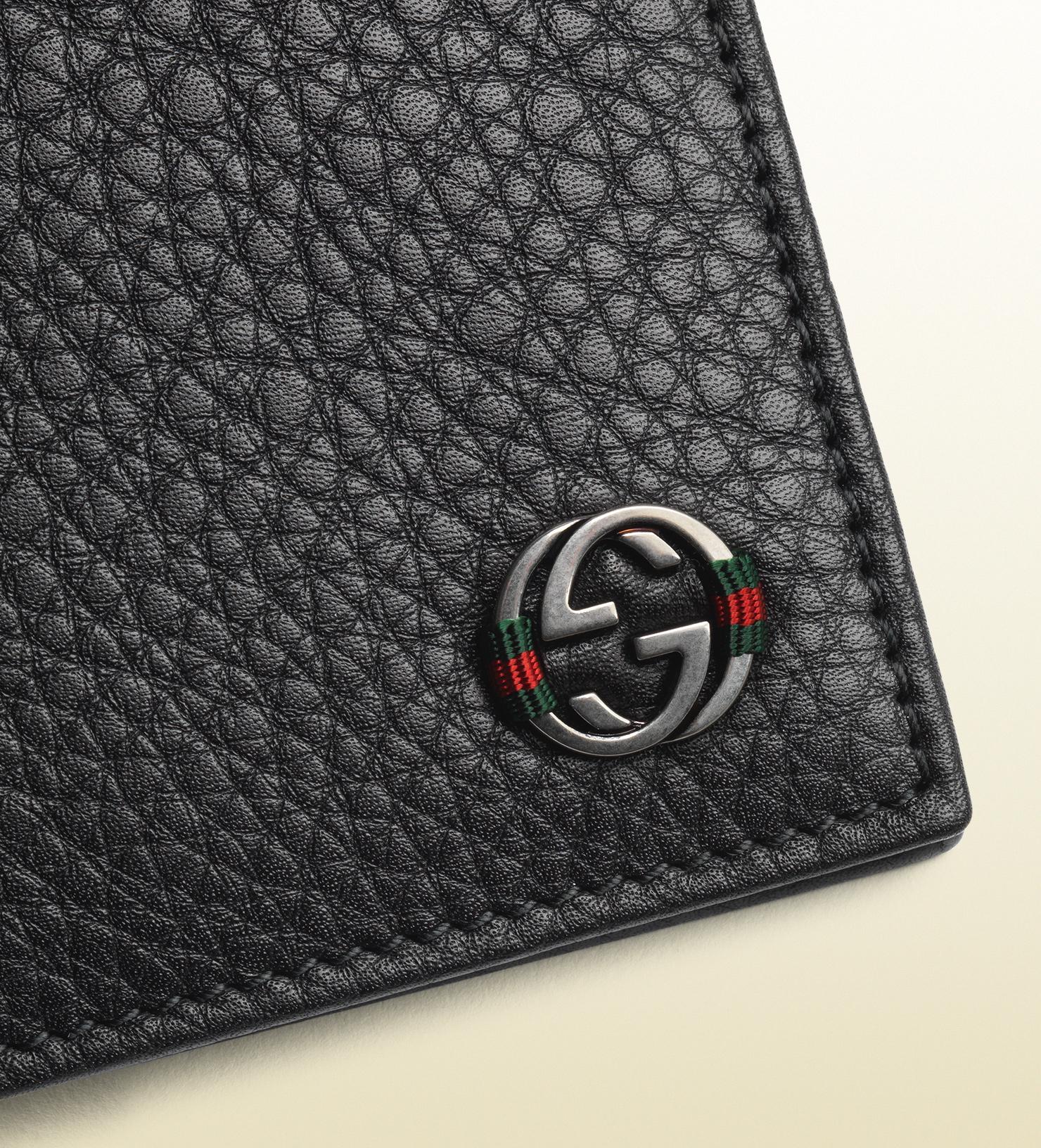 f091e0ee640 Lyst - Gucci Leather Bi-fold Wallet in Black for Men