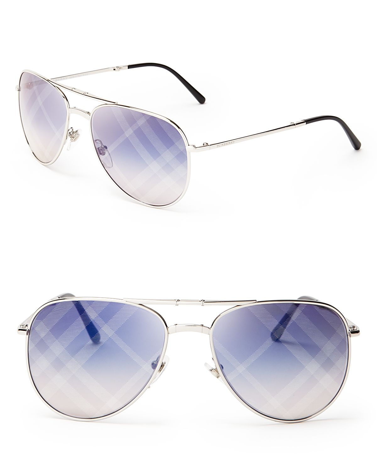 Burberry Spark Mirrored Aviator Sunglasses in Silver