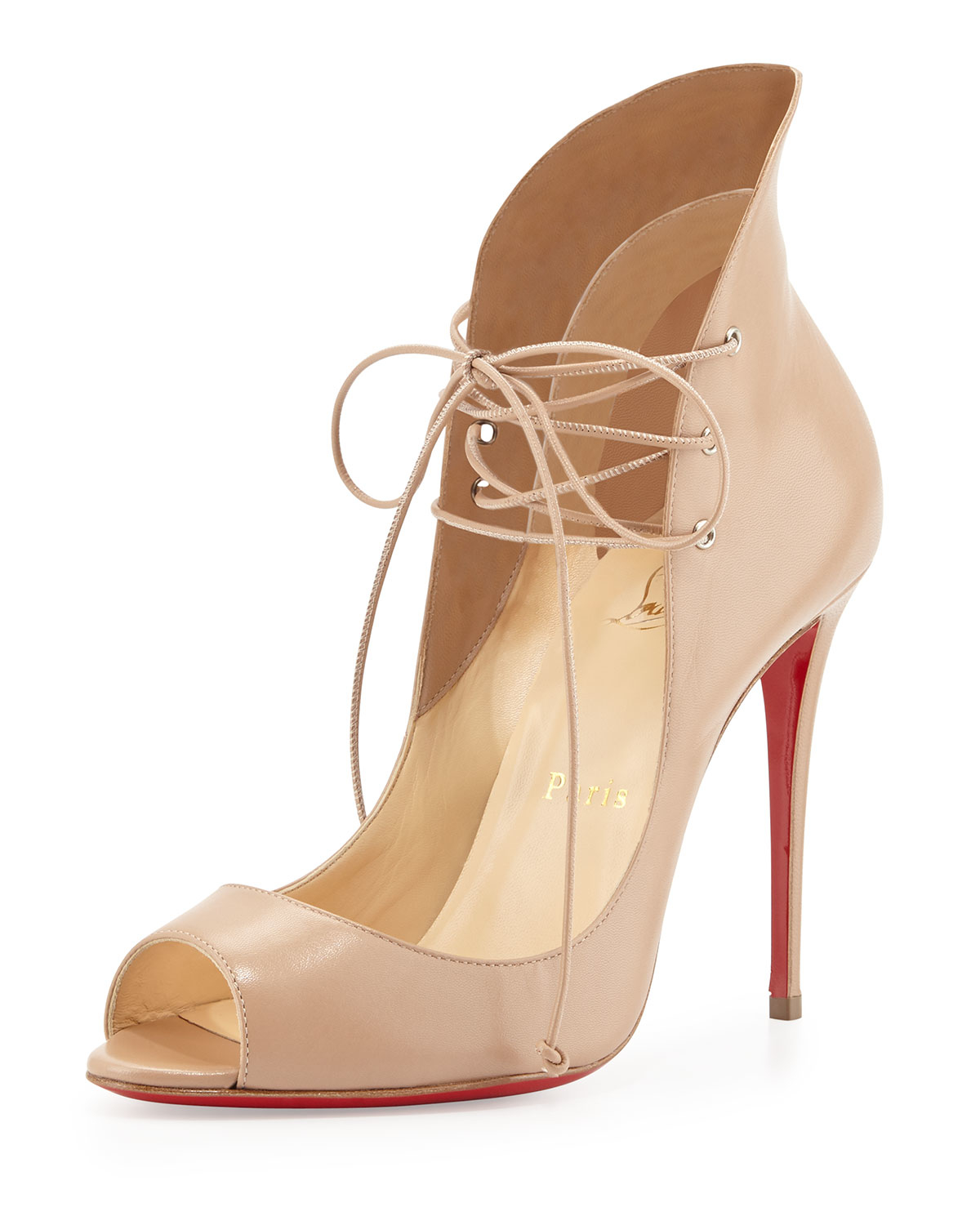 spooky shoes price - Christian louboutin Mega Vamp Lace-up Red Sole Pump in Pink (NUDE ...