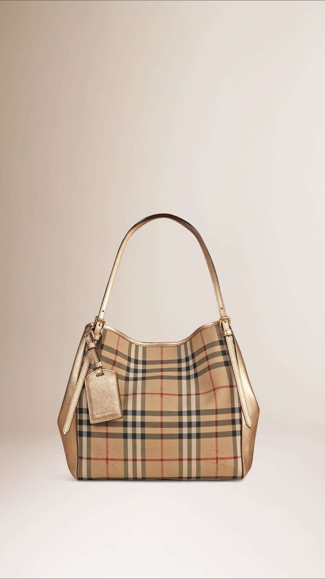 c02811b76343 Lyst - Burberry The Small Canter In Horseferry Check in Metallic