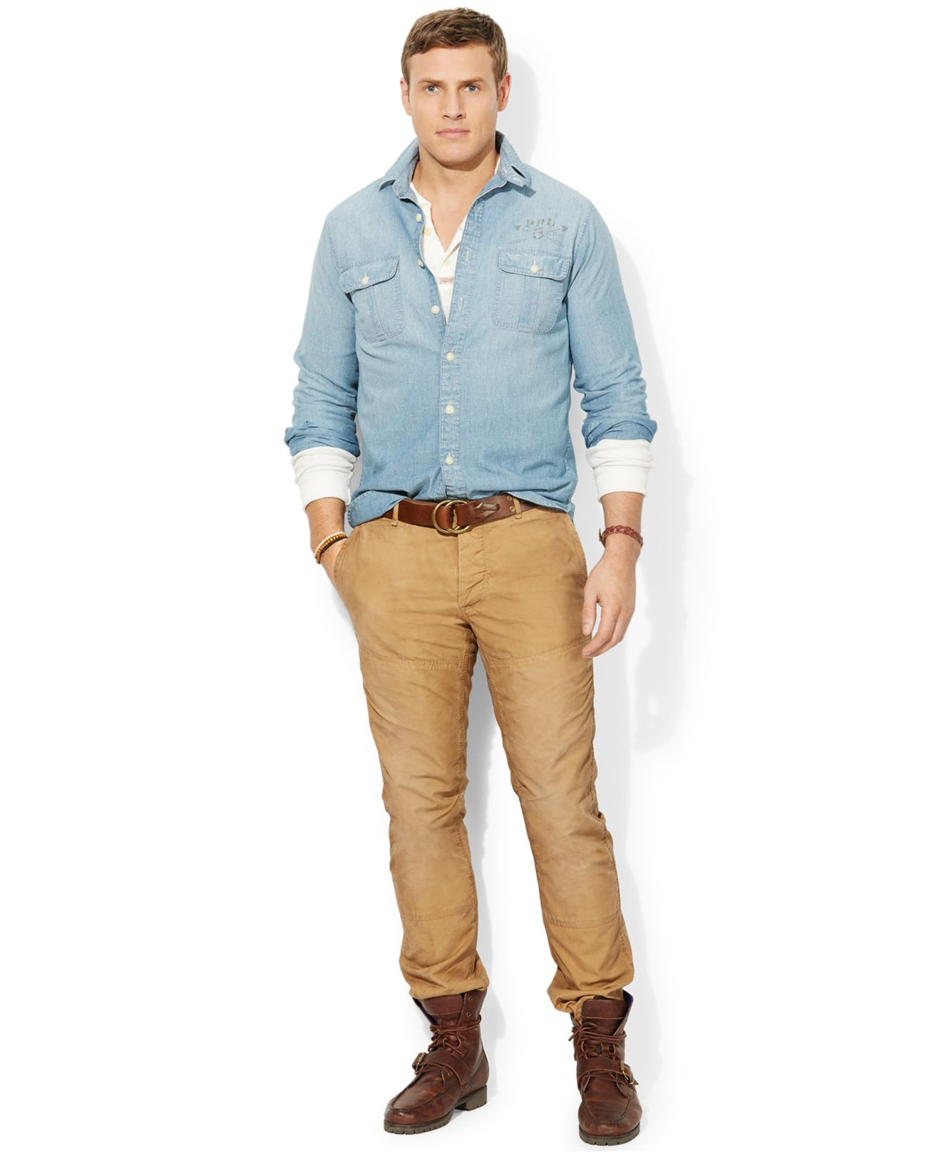 Polo ralph lauren big and tall long sleeve chambray shirt for Big and tall long sleeve shirts