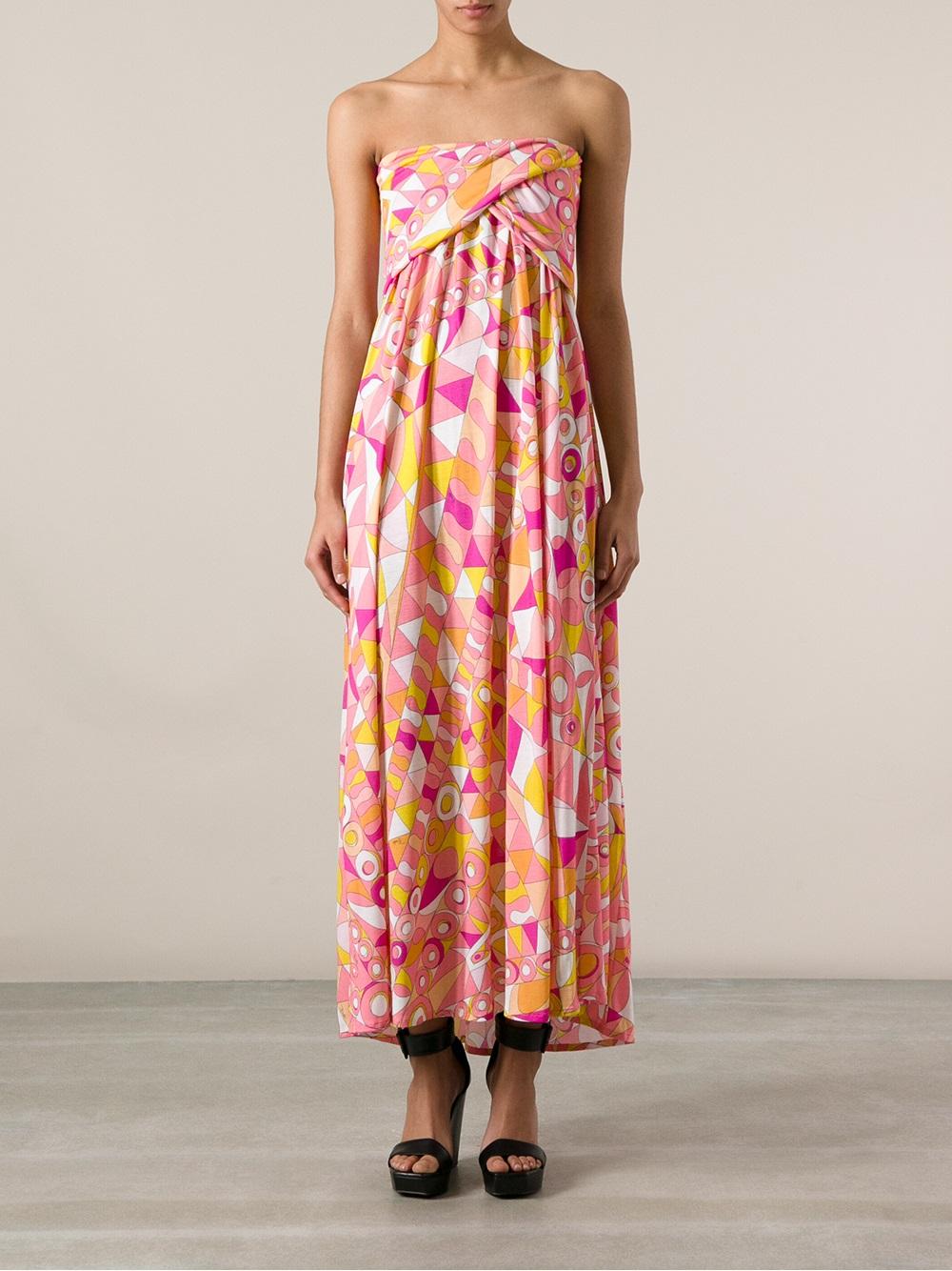 Emilio Pucci Printed Maxi Dress in Pink & Purple (Pink)