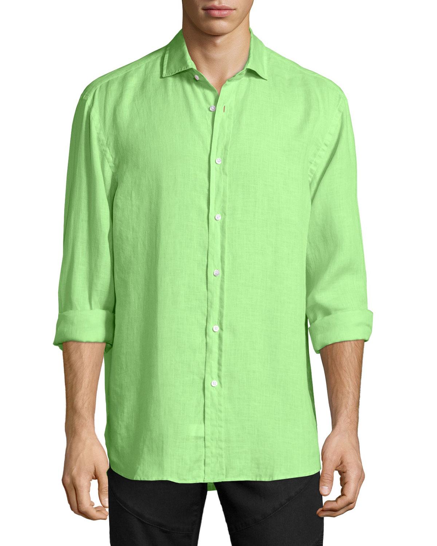 Pink pony solid linen long sleeve sport shirt in green for for Linen long sleeve shirt