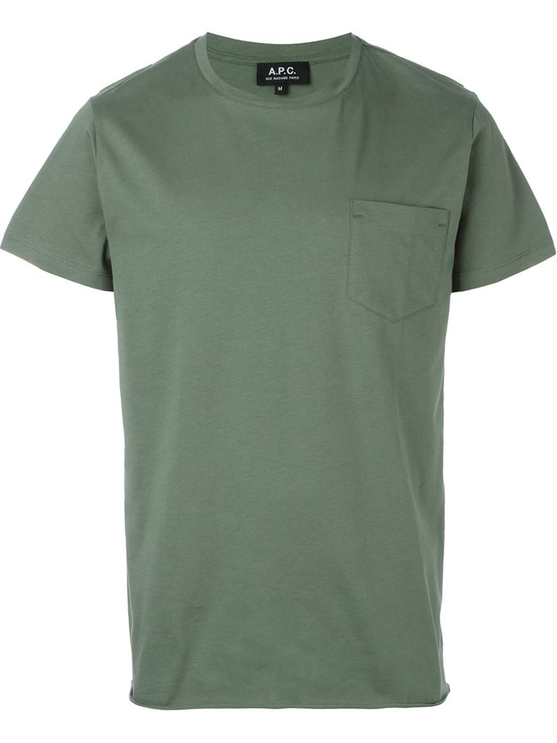 a p c front pocket t shirt in green for men lyst