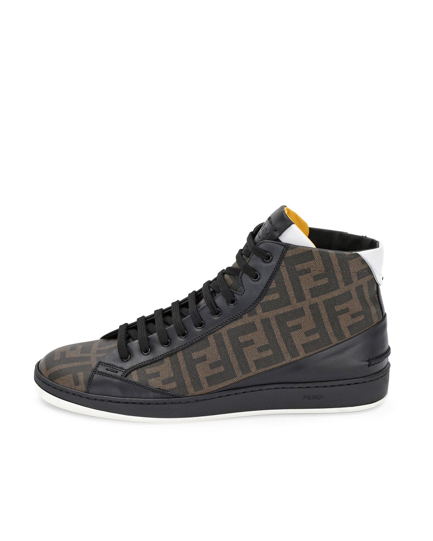 fe85af38a6 Fendi Brown Zucca High-top Leather Sneaker for men