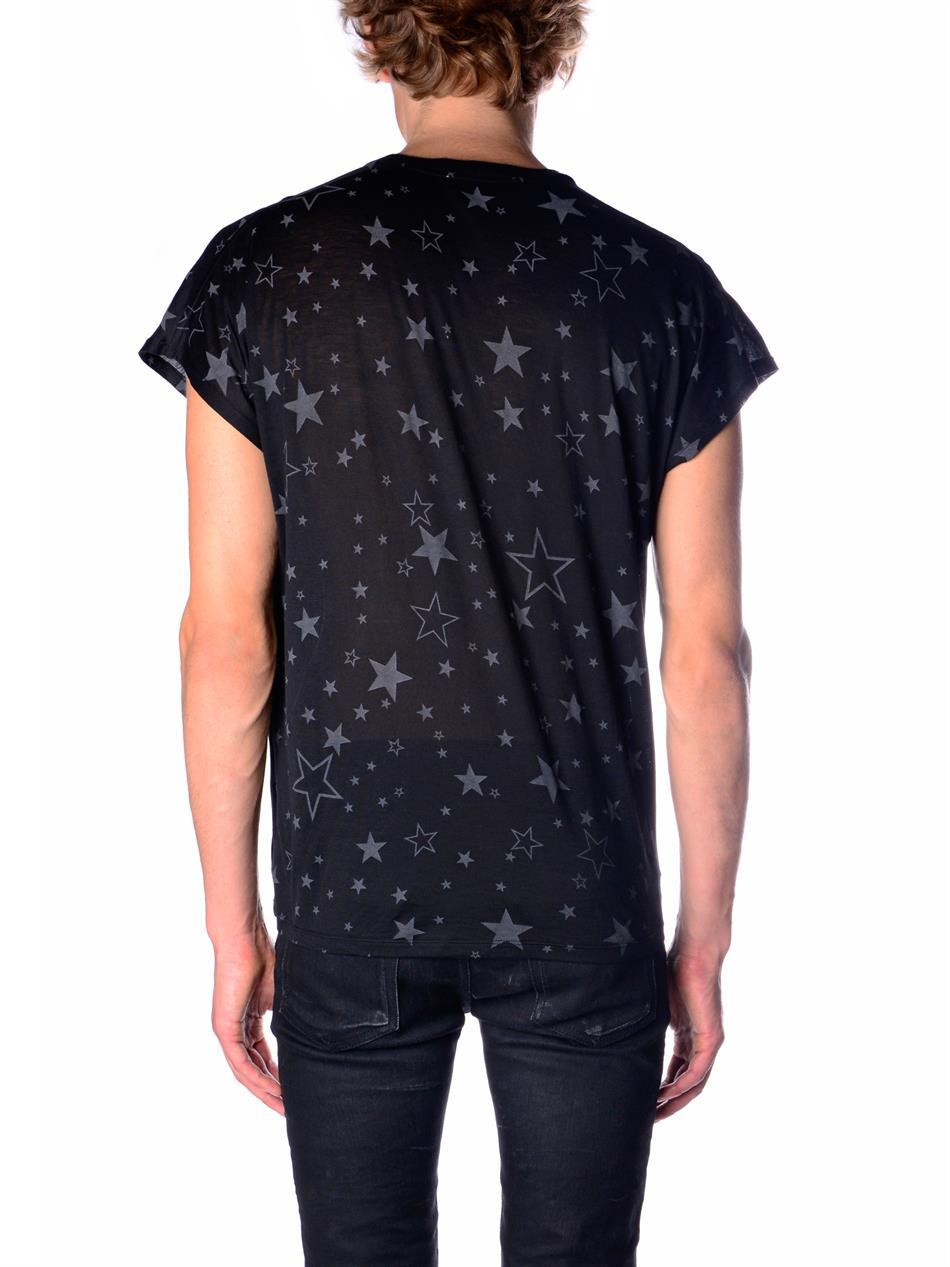 Saint laurent star print t shirt in blue for men lyst for Saint laurent t shirt