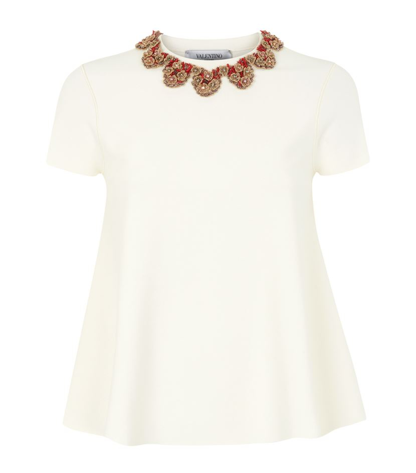 Valentino embellished collar t shirt in white lyst for Michael stars t shirts on sale