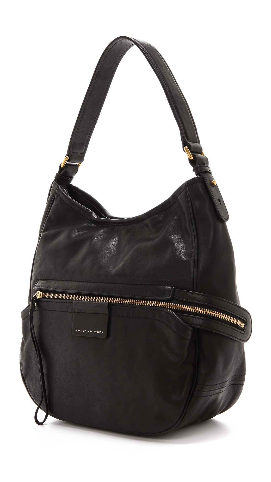 marc by marc jacobs moto hobo in black lyst. Black Bedroom Furniture Sets. Home Design Ideas