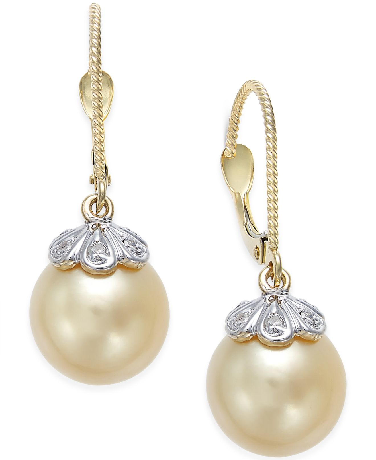 macy s pearl earrings macy s cultured golden south sea pearl 10mm and 3857