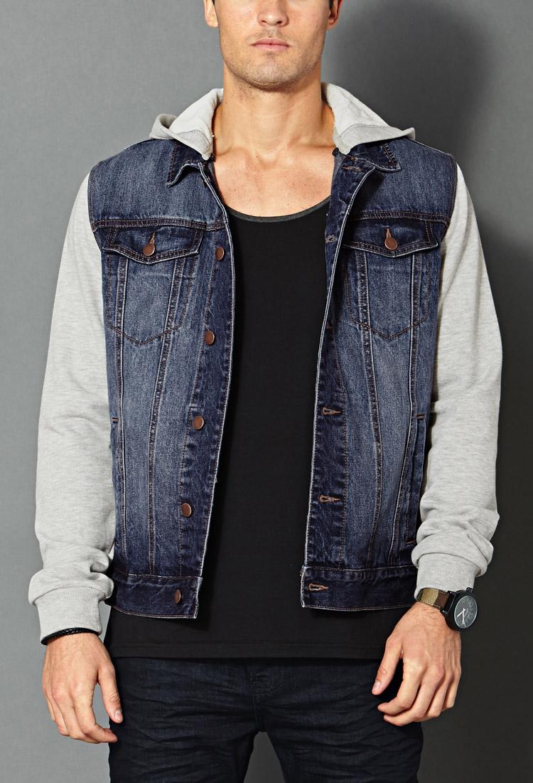 Lyst Forever 21 Hooded Denim Jacket In Blue For Men