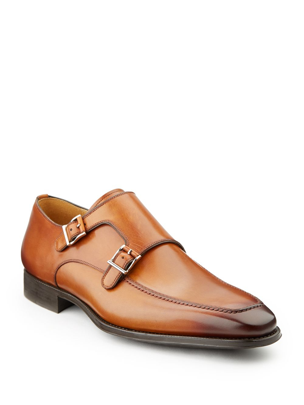 magnanni monk dress shoes in brown for cognac