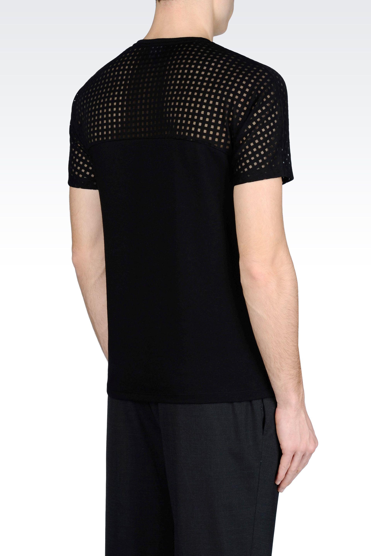 Emporio Armani T Shirt In Devor Jersey In Black For Men
