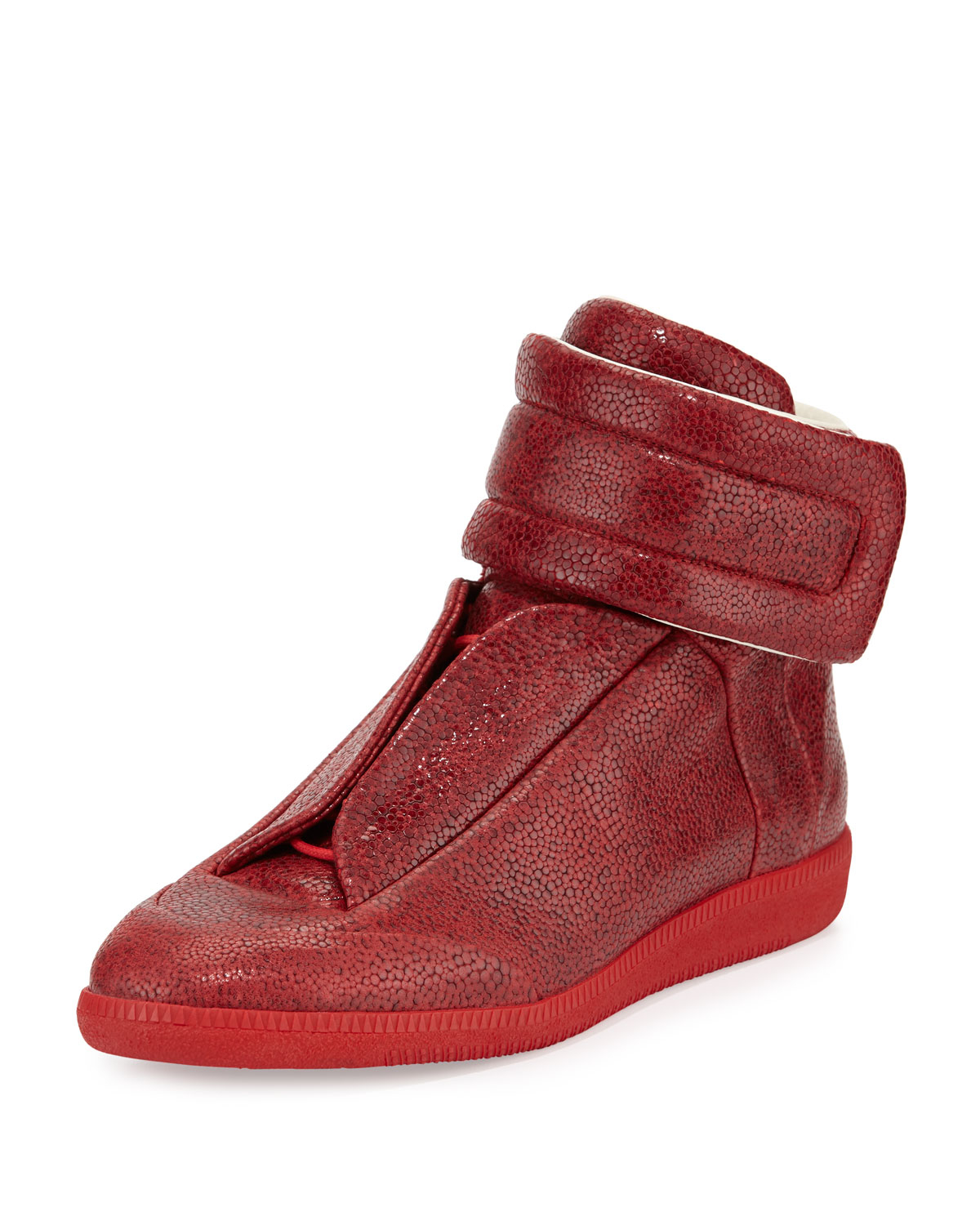 Maison Margiela Future Printed Leather High Top Sneaker In