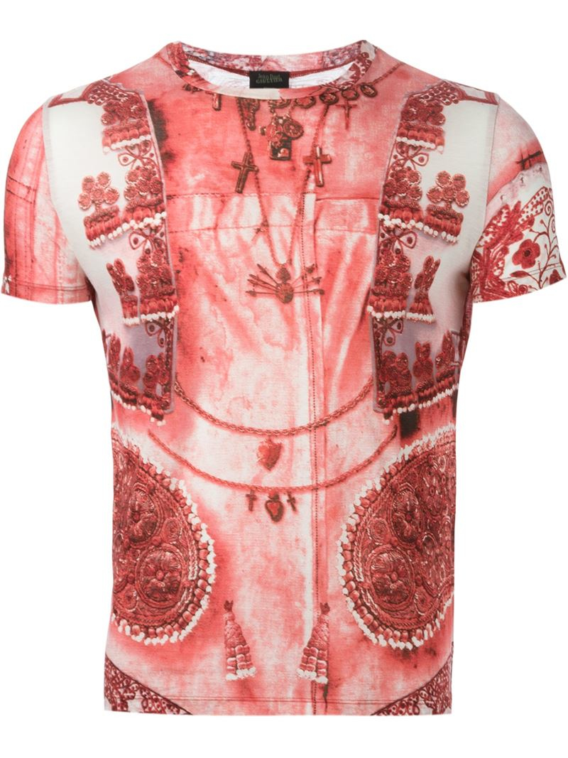 lyst jean paul gaultier 39 tattoo 39 t shirt in red for men. Black Bedroom Furniture Sets. Home Design Ideas
