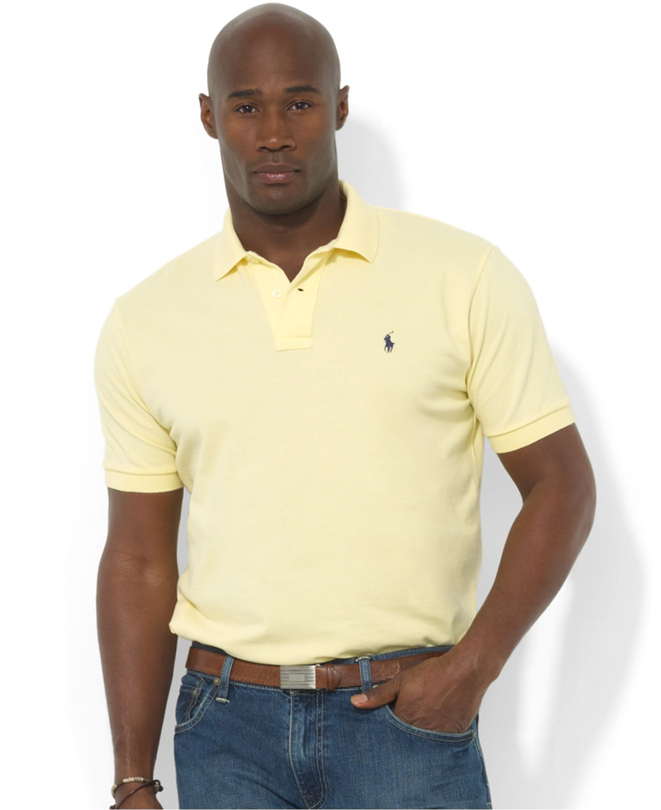 Polo ralph lauren Classic-fit Short-sleeve Cotton Mesh Polo in Yellow for Men (Wicket Yellow) | Lyst
