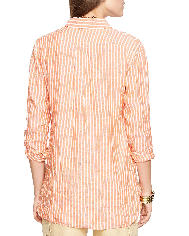 Lyst Ralph Lauren Lauren Petites Striped Linen Shirt In