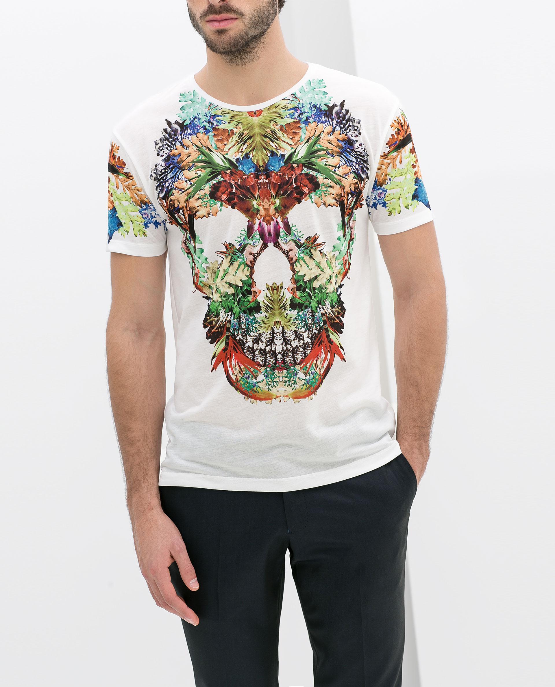 zara skull tshirt with flowers in white for men lyst. Black Bedroom Furniture Sets. Home Design Ideas
