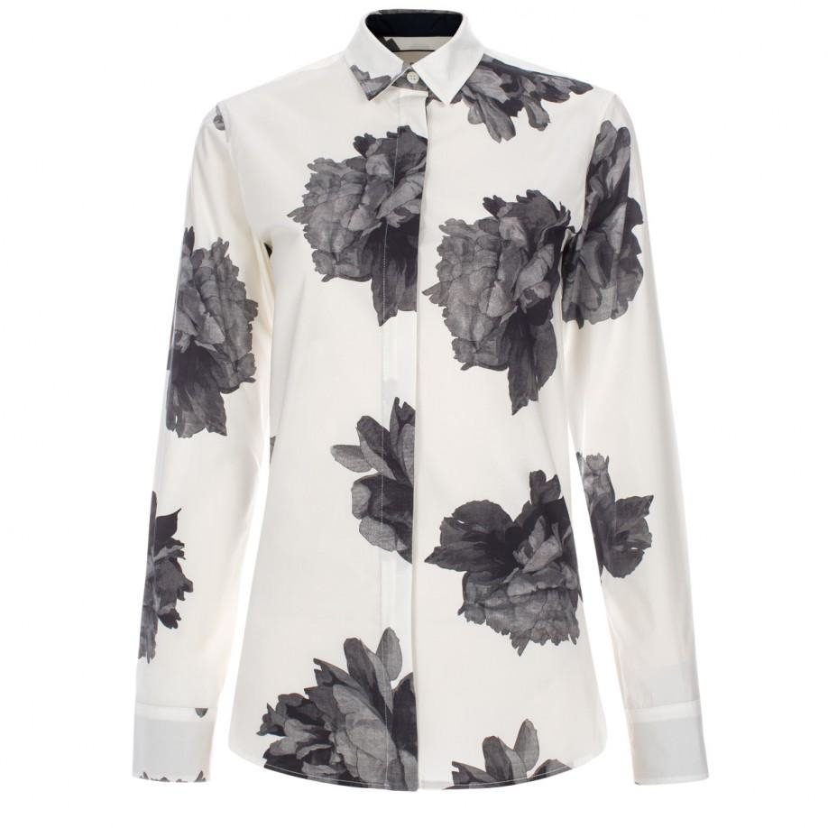 Paul smith women 39 s white 39 floral 39 print cotton shirt in for White floral shirt womens