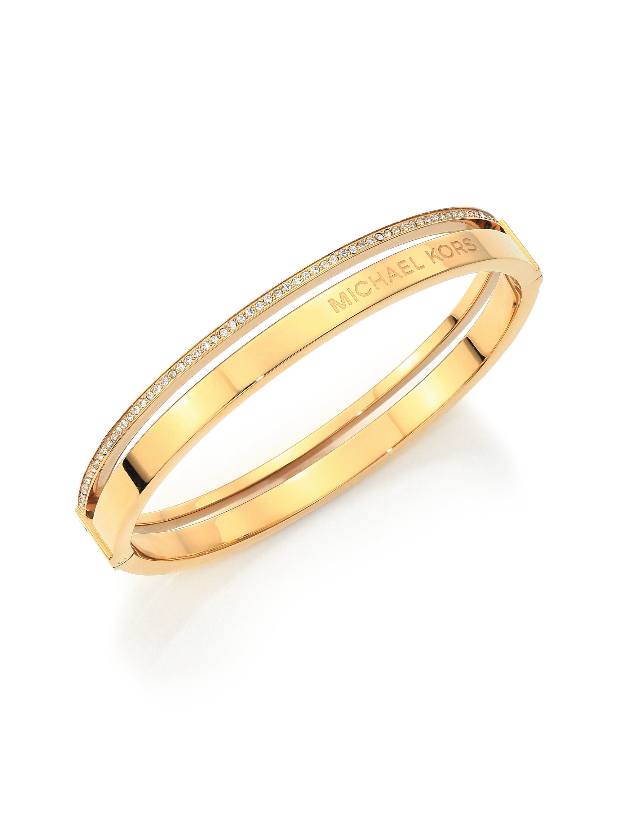 michael kors pav two row bangle bracelet goldtone in. Black Bedroom Furniture Sets. Home Design Ideas