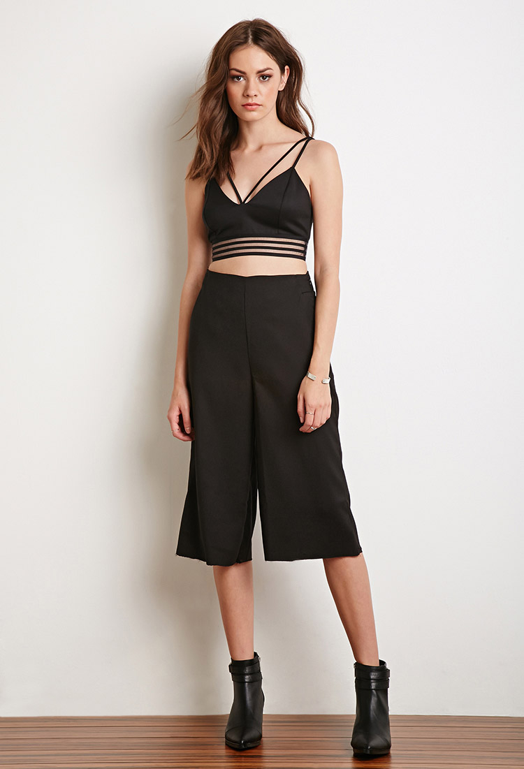 Forever 21 Shadow Stripe Cropped Cami in Black